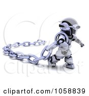 Royalty Free CGI Clip Art Illustration Of A 3d Robot Carrying A Chain by KJ Pargeter