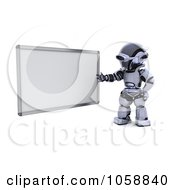 Royalty Free CGI Clip Art Illustration Of A 3d Robot Presenting A White Board