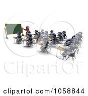 Royalty Free CGI Clip Art Illustration Of A 3d Robot Teaching Class