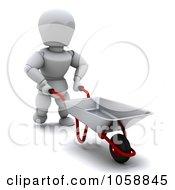 Royalty Free CGI Clip Art Illustration Of A 3d White Character Gardener Pushing A Wheelbarrow