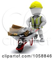 Royalty Free CGI Clip Art Illustration Of A 3d White Character Builder Pushing A Wheelbarrow Of Tools