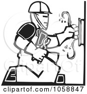 Royalty Free Vector Clip Art Illustration Of A Black And White Woodcut Styled Electrician