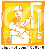 Royalty Free Vector Clip Art Illustration Of An Orange And Yellow Woodcut Styled Plumber
