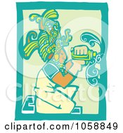 Woodcut Styled Mayan Carpenter