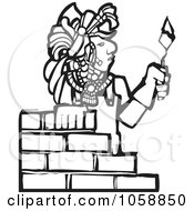 Royalty Free Vector Clip Art Illustration Of A Black And White Woodcut Styled Mayan Mason by xunantunich