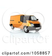 Royalty Free CGI Clip Art Illustration Of A 3d Orange Delivery Van by chrisroll
