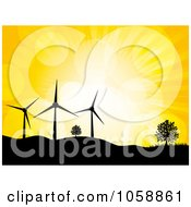 Silhouetted Wind Turbines And Trees Atop Hills Against A Yellow Sky With Flares