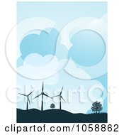Royalty Free Vector Clip Art Illustration Of A Silhouetted Wind Turbines And Trees Atop Hills Against A Cloudy Sky