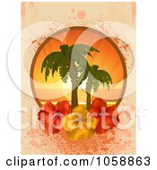 Royalty Free Vector Clip Art Illustration Of A Hibiscus Flower Frame With Palm Trees At Sunset Over Grungy Pink