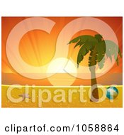Royalty Free Vector Clip Art Illustration Of A Deep Orange Sunset Over A Tropical Beach Horizon