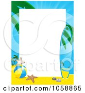 Royalty Free Vector Clip Art Illustration Of A Tropical Beach And Surf Board Frame With Copyspace by elaineitalia