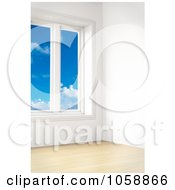 Royalty Free CGI Clip Art Illustration Of A 3d Modern Empty Room With Tall Windows And Wooden Floors 1 by stockillustrations