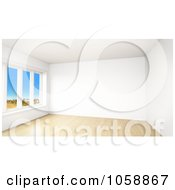 Royalty Free CGI Clip Art Illustration Of A 3d Modern Empty Room With Tall Windows And Wooden Floors 2