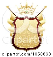Royalty Free Vector Clip Art Illustration Of A Heraldic Gold Shield With A Crown