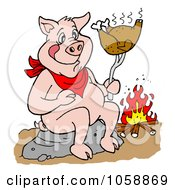 Royalty Free Vector Clip Art Illustration Of A Pig Roasting A Chicken Over A Fire