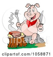 Royalty Free Vector Clip Art Illustration Of A Hungry Pig Eating A Trip Tip Steak On A Stump