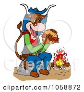 Royalty Free Vector Clip Art Illustration Of A Cow Eating A Pulled Pork Sandwich By A Fire by LaffToon