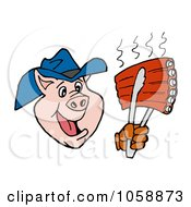 Royalty Free Vector Clip Art Illustration Of A Cowboy Pig Holding Up Rips With A Spatula