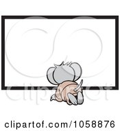 Royalty Free Vector Clip Art Illustration Of A Micah Mouse Kneeling Before A Blank Sign by Johnny Sajem
