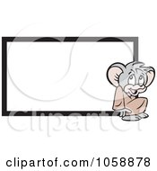 Royalty Free Vector Clip Art Illustration Of A Micah Mouse By A Blank Sign by Johnny Sajem