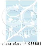 Background Of Blue Lines With White Birds And Vines
