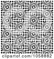 Royalty Free Vector Clip Art Illustration Of A Seamless Black And White Swirl Patterned Background by michaeltravers