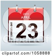 Royalty Free Vector Clip Art Illustration Of A 3d St Georges Day April 23 2011 Flip Desk Calendar