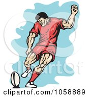 Royalty Free Vector Clip Art Illustration Of A Retro Rugby Player Kicking