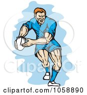 Royalty Free Vector Clip Art Illustration Of A Rugby Player Running With A Ball
