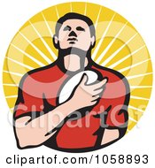 Royalty Free Vector Clip Art Illustration Of A Rugby Player Holding A Ball To His Chest Over Rays