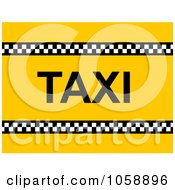 Yellow Background With A Checkered Line And Taxi Text 2