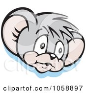 Royalty Free Vector Clip Art Illustration Of A Micah Mouse In Thought Over Blue by Johnny Sajem
