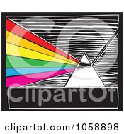Royalty Free Vector Clip Art Illustration Of A Woodcut Styled Prism And Light