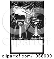 Royalty Free Vector Clip Art Illustration Of A Black And White Woodcut Styled Electric Science Experiment by xunantunich