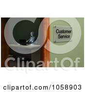 Royalty Free CGI Clip Art Illustration Of A 3d Skeleton Sitting In A Customer Service Office by stockillustrations