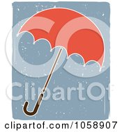 Royalty Free Vector Clip Art Illustration Of An Umbrella Un A Grungy Blue Background by mheld