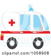 Royalty Free Vector Clip Art Illustration Of A Profiled Ambulance by Alex Bannykh