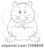 Royalty Free Clip Art Illustration Of An Outlined Chubby Hamster