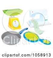 Royalty Free Clip Art Illustration Of A Digital Collage Of Household Items