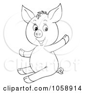 Royalty Free Clip Art Illustration Of An Outlined Waving Piglet