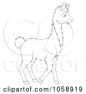 Royalty Free Clip Art Illustration Of An Outlined Llama by Alex Bannykh