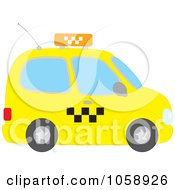 Royalty Free Vector Clip Art Illustration Of A Side View Of A Yellow Taxi Cab