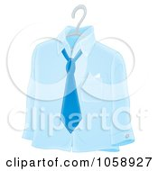 Royalty Free Clip Art Illustration Of A Blue Shirt And Tie On A Hanger