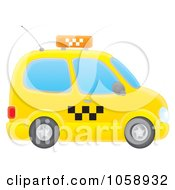 Royalty Free Clip Art Illustration Of A Side View Of An Airbrushed Yellow Taxi Cab by Alex Bannykh