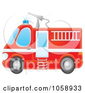 Royalty Free Clip Art Illustration Of An Airbrushed Red Fire Engine