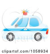 Royalty Free Clip Art Illustration Of An Airbrushed Profiled View Of A Police Car by Alex Bannykh