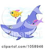Royalty Free Vector Clip Art Illustration Of A Shark Swiming With Two Fish