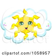 Royalty Free Vector Clip Art Illustration Of A Pretty Sun Over A Cloud by bpearth