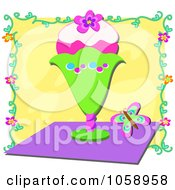 Royalty Free Vector Clip Art Illustration Of An Ice Cream Sundae And Butterfly Over Yellow by bpearth