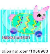Bunny Easter Egg And Greeting On Blue